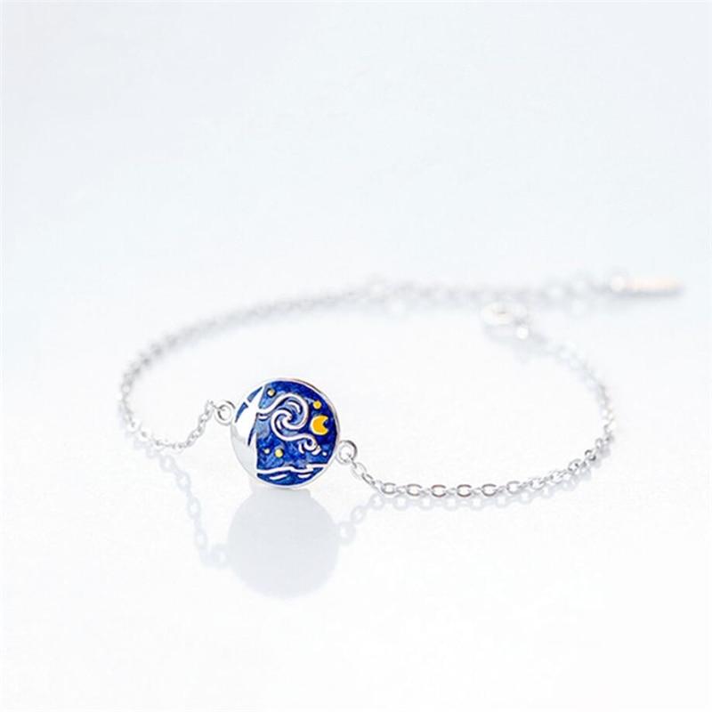 Sole Memory Creative Van Gogh, cielo estrellado, Luna, Romance literario, Plata de Ley 925, pulseras ajustables para mujer SBR233