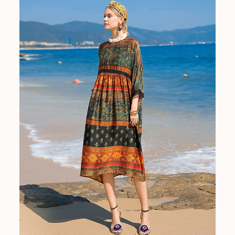 2021 New Spring Summer Dress Women O neck Printed Floral Dress Fashion Long-Sleeved Loose Silk Dresses Ladies Plus size Sundress autumn summer new women shirt dress long sleeved female dresses slim fashion party office lady sundress plus size casual rob