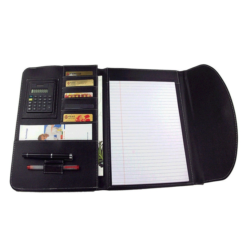 A4 Fichario Document Organize File Folder Foldable Padfolio Briefcase Notebook with Calculator Leather Office Manager Case Bag