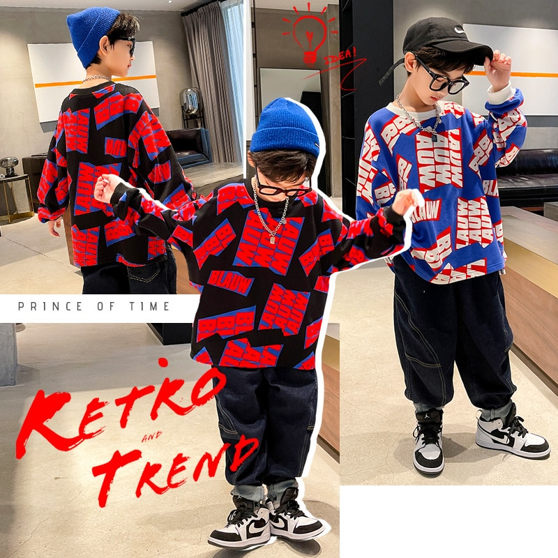 Boys Spring and Autumn Sweaters 2021 New Boys' Tops, Children's Color Matching Sweaters, Foreign Style