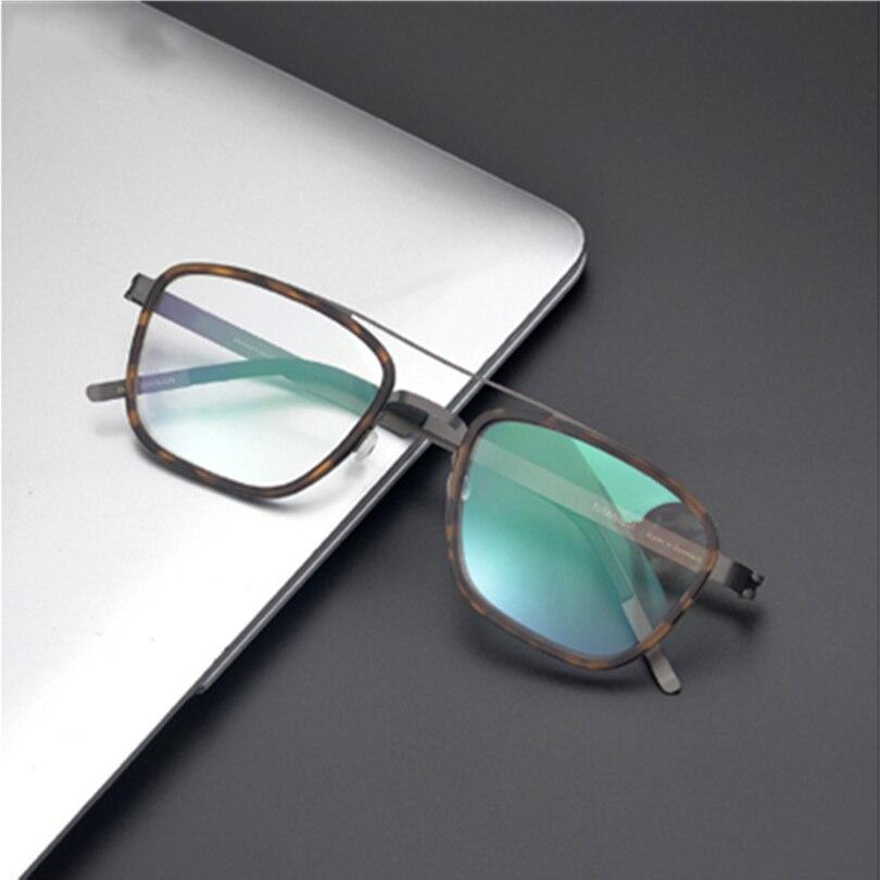 2021 الدنمارك ماركة خفيفة الرجعية مربع الطيار سبائك النظارات الإطار الرجال النساء قصر النظر البصرية وصفة طبية نظارات 9708