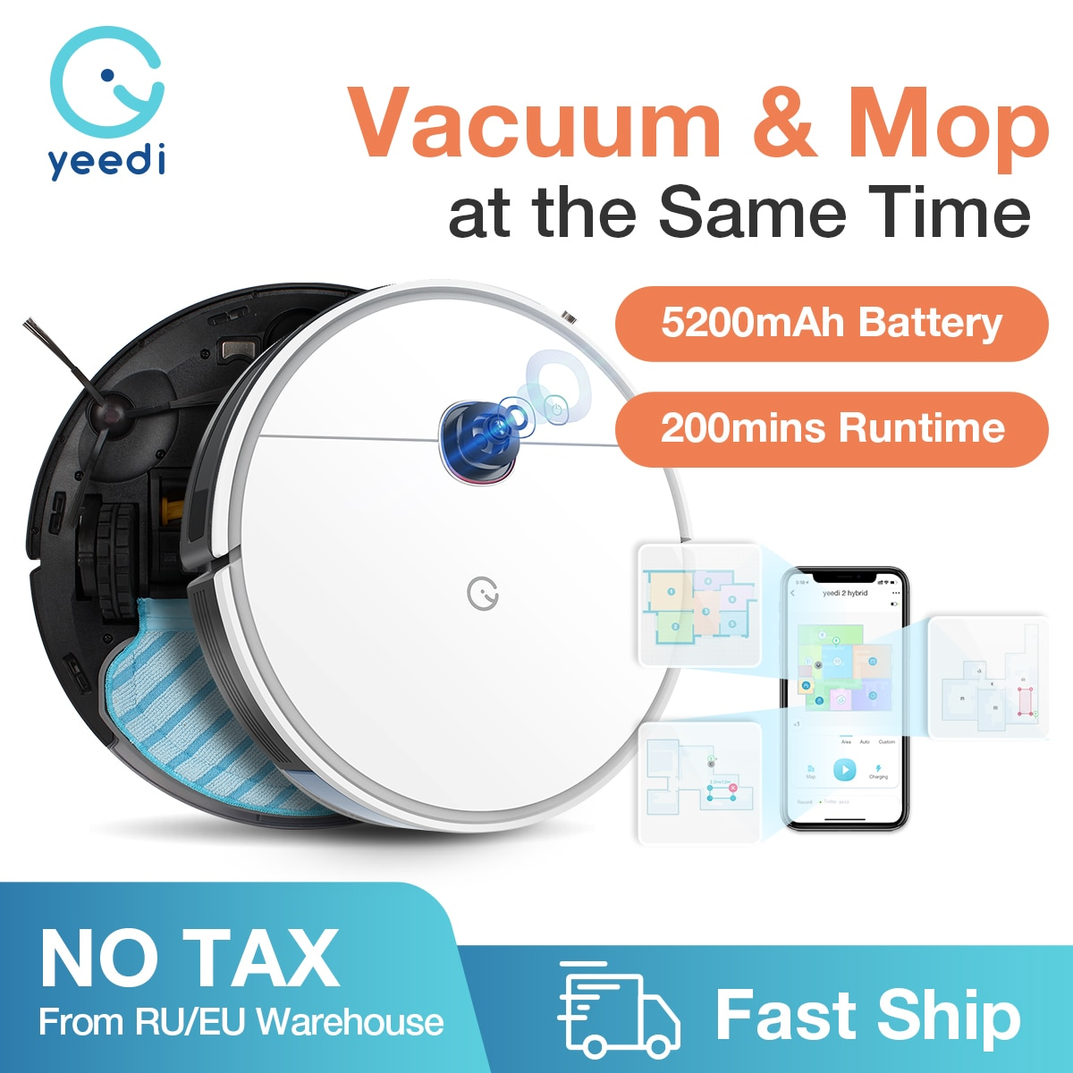 yeedi 2 hybrid Robot Vacuum Cleaner Visual Navigation,Sweep Mop 3in1,Virtual Boundary,2500Pa 200mins Runtime,Customize Cleaning