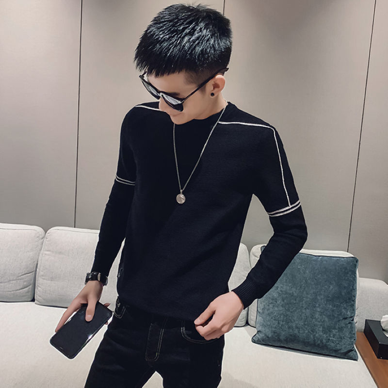 Winter 2020 new sweater mens handsome Korean t-shirt with T-shirt for casual autumn wear