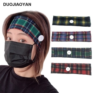 DUOJIAOYAN New Fashion plaid headband button mask hair band Women Fabric hair accessories hoop Girls Simple Grid headwear