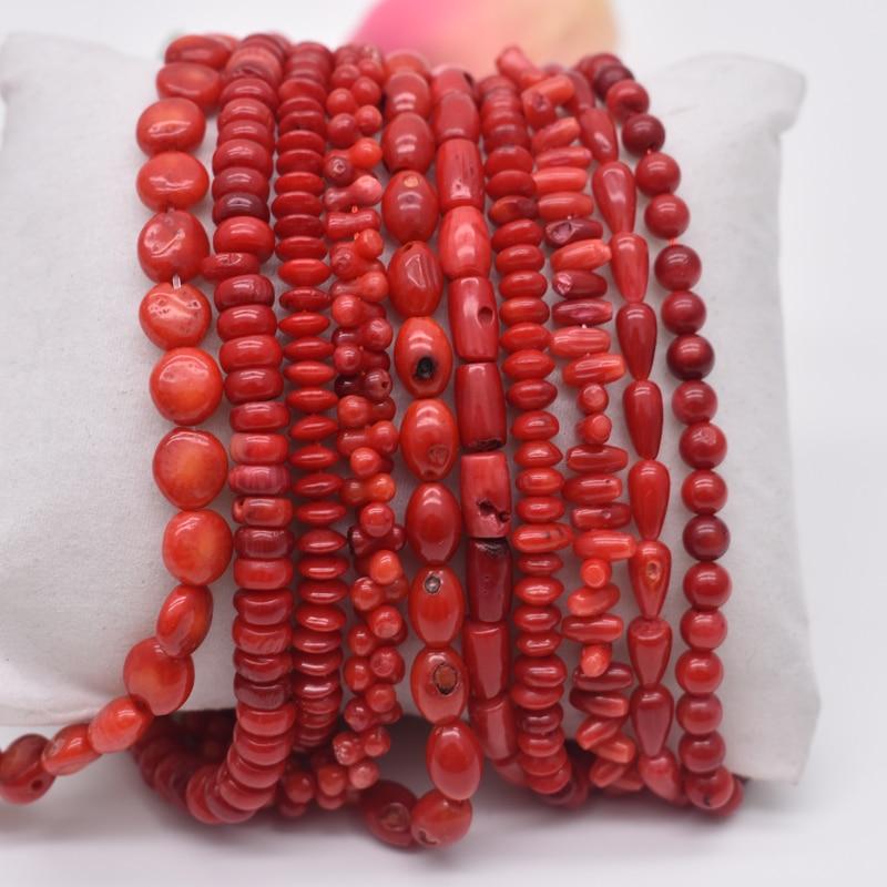 """Бусины из натурального камня неправильной круглой формы, красные коралловые бусины, ювелирные бусины, нитка 15 """"для DIY браслета, ожерелья, ювелирное изделие"""