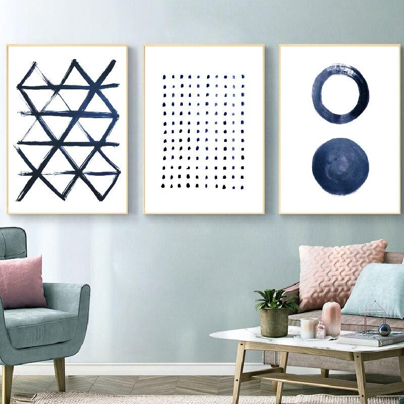 Peinture de Style minimaliste nordique   Décoration de maison, peinture bleue abstraite, Art de fond de salon, sans cadre