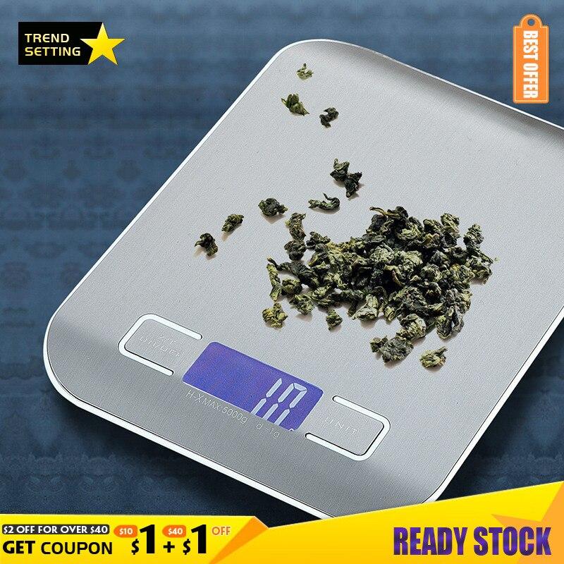 Бытовые электронные весы Realmote 5 кг/1 г, кухонные весы для выпечки, плоские пищевые весы из нержавеющей стали, маленькие кухонные весы с измере...