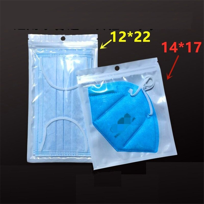 1000 pçs/lote selado saco de zíper auto saco de vedação translúcido saco de plástico máscara pérola saco de embalagem