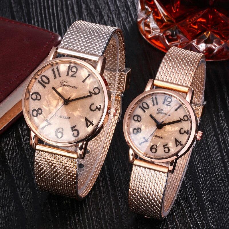 Casal relógios masculinos marca de luxo famoso amante relógio feminino casual malha metal aço inoxidável relógios para mulher relogio feminino