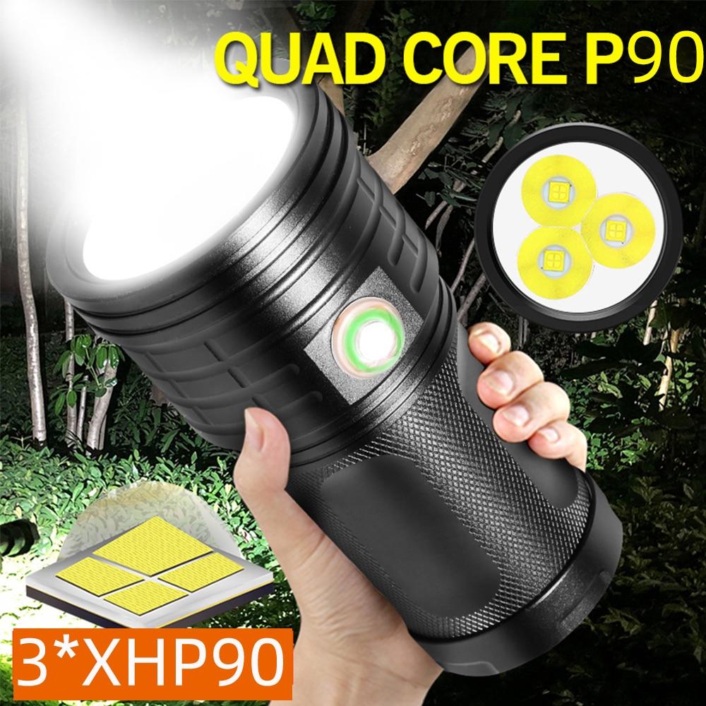 9000LM 3 * XHP90 мощный супер яркий фонарик 3 * xhp50 usb Перезаряжаемый водонепроницаемый тактический фонарь для кемпинга 4*18650 батарея