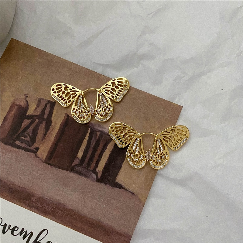 Korean Zircon Butterfly Earrings for Women Temperament Vintage Gold Silver Color Charm Hook Earring Party Jewelry Unique Design