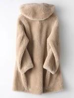 wool 100 fur coat female sheep shearling fur jackets 2020 winter jacket women hooded long coats korean overcoat my3781 s
