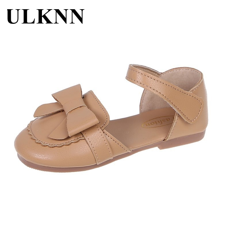ULKNN Girls Spring Footwears 2021 New Children's Sandals Summer Shoes Kid's Casual Round Toe Shoes Fashion Leathers Solid Flats