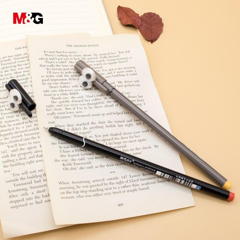 M & G 3 uds negro tinta kawaii dibujos animados gel bolígrafos para la escuela papelería suministros de oficina calidad pluma bonita chica escritura suave regalo
