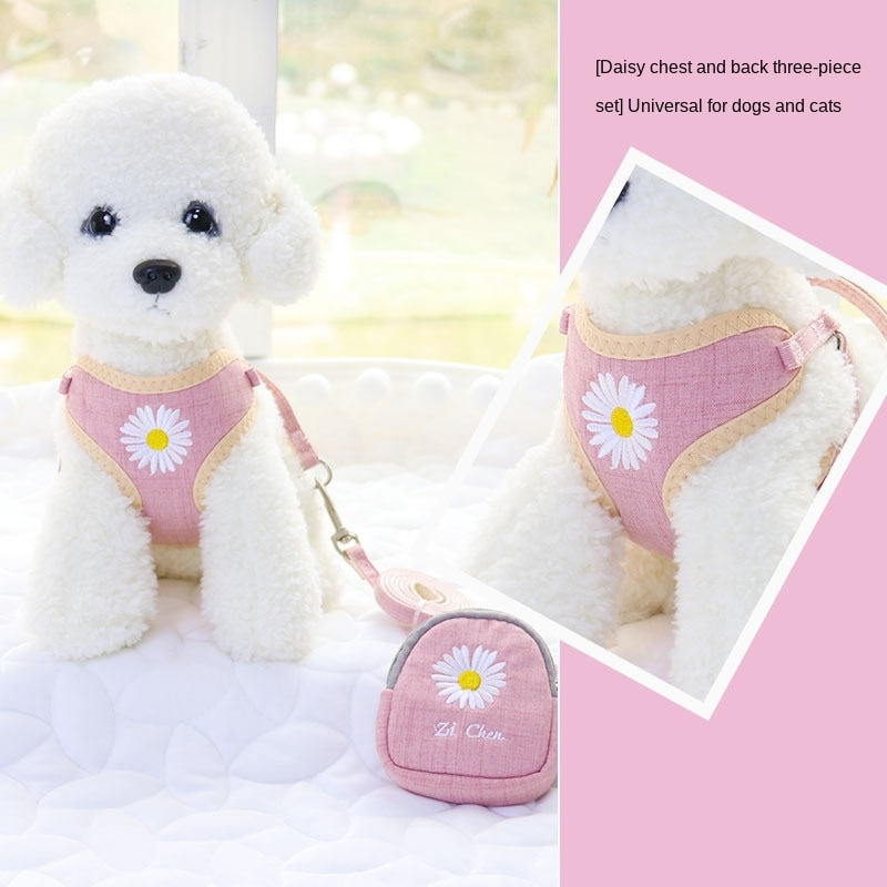 Plain embroidery dog traction rope chest strap Teddy Bomei pet traction rope dog rope dog chain pet products