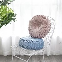 nordic floor cushion round velvet pleated solid seat cushion pillow pouf soft comfortable back cushion bed pillow sofa decor