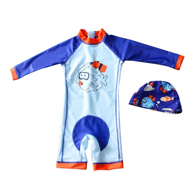 Nuevo 2019 traje de baño de una pieza de verano para niños, gorra de baño de manga larga para bebés, traje de baño de secado rápido, traje de surf de playa