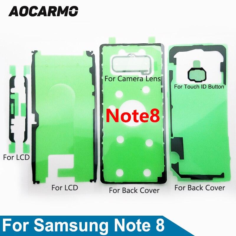 Aocarmo Para Samsung Nota Galáxia 8 SM-N9500 Conjunto Completo Fita Adesiva Tela LCD Voltar Tampa Da Bateria Quadro Lente Da Câmera Adesivo cola