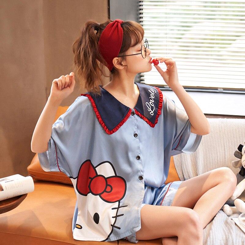 الصيف منامة المرأة قصيرة الأكمام مثير رقيقة الحرير الجليد فضفاض نمط Homewear مجموعة