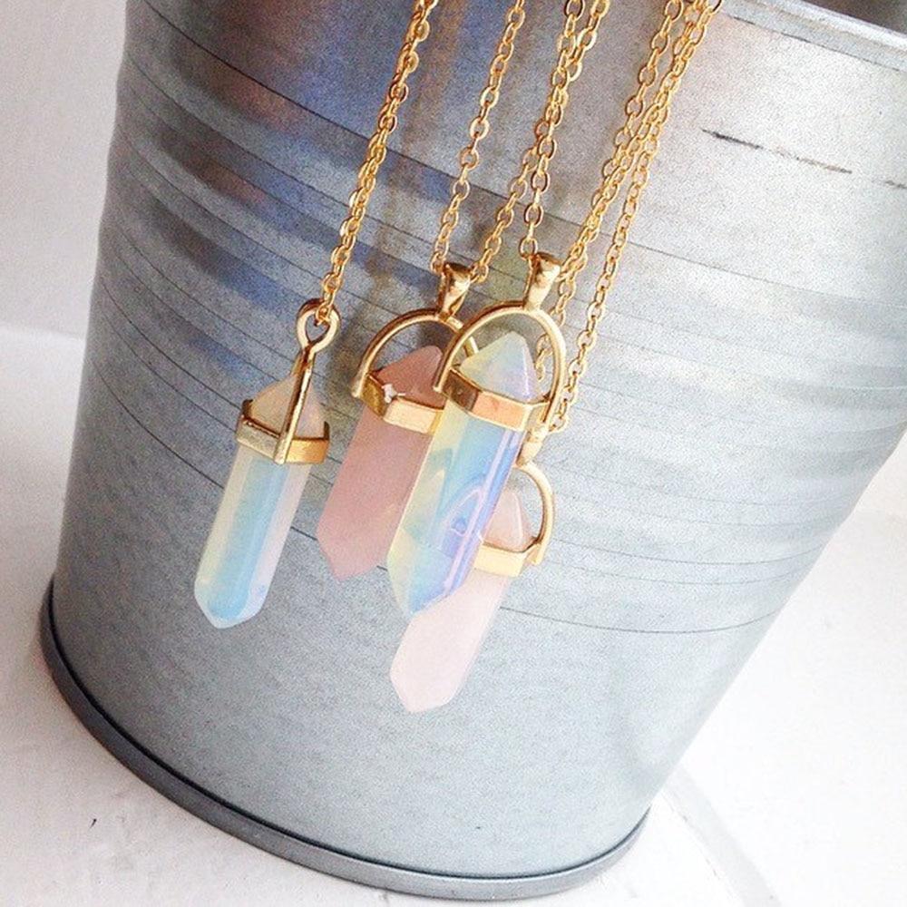 aliexpress.com - Hot sale Hexagonal Column Quartz Necklaces Pendants Fashion Natural Stone Bullet Pink Crystal Pendant Necklace For Women Jewelry