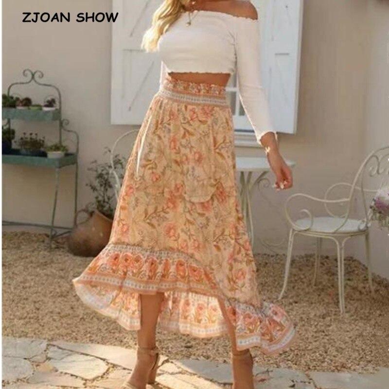 Falda larga Bohemia con estampado Floral de albaricoque, estilo bohemio, para vacaciones, para mujer, cintura alta, puntadas con orejas de madera, faldas extra largas para playa, 2020