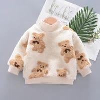 1 4 years children autumn and winter clothing boy girl cartoon bears plus velvet warmth sweatshirts toddler baby kawaii clothing