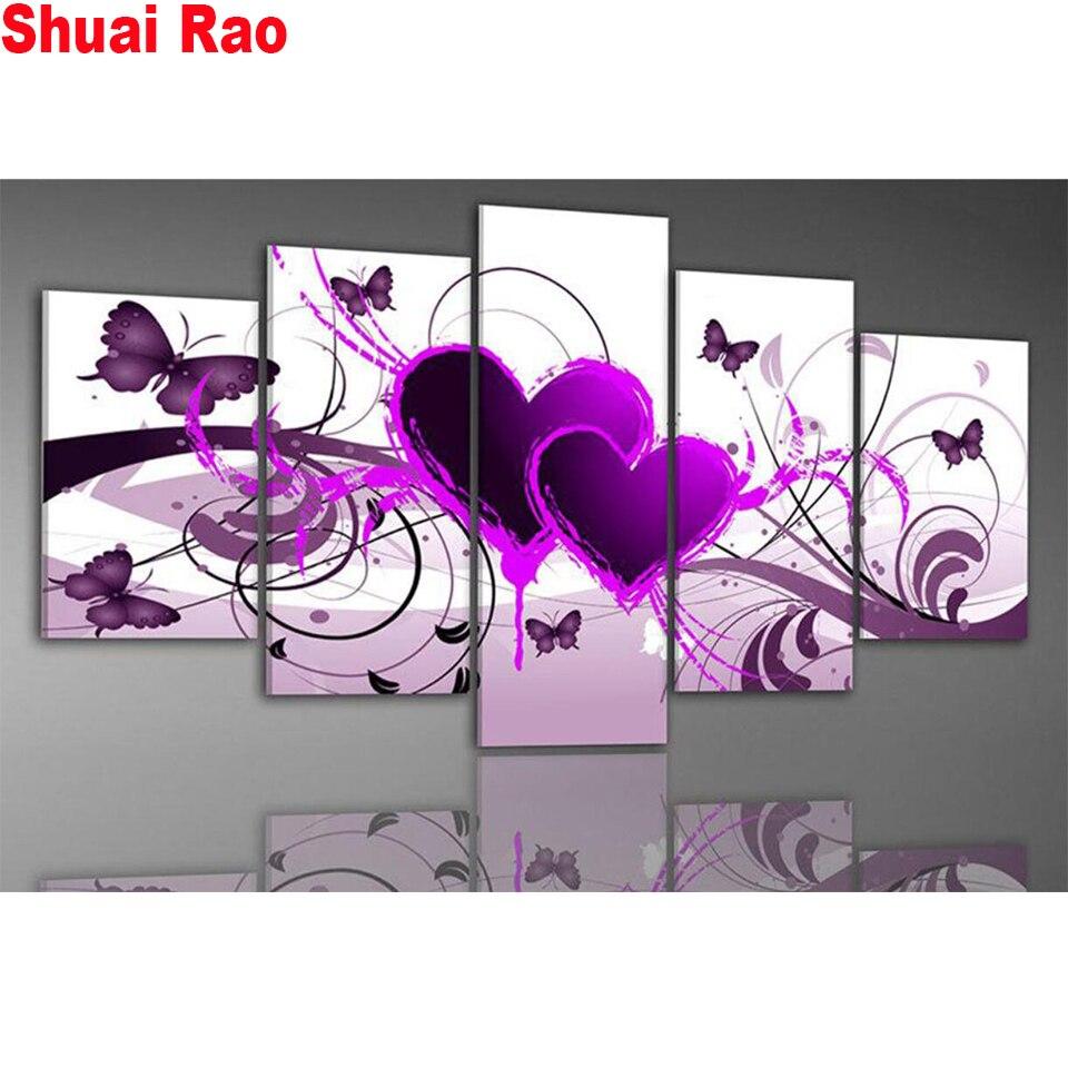 5 piezas de diamante pintura púrpura mariposa volar flores decoración para paisajismo diy diamante bordado cuadro full drill diamantes de imitación