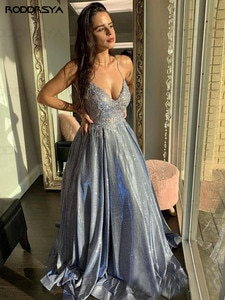 Long Glitter Appliques V Neck Prom Dresses 2020 Sleeveless Spaghetti Strap Formal Evening Party Ball Gowns Robe De Soiree
