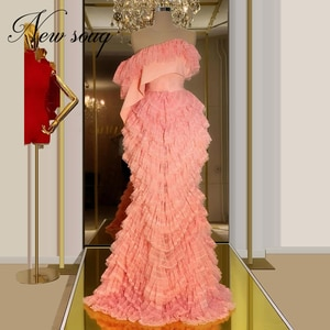 Chic Dubai Design Pink Formal Evening Dresses Arabic One Sleeve Long Gown Kaftans Turkish Aibye Party Gown Women Prom Dress 2020