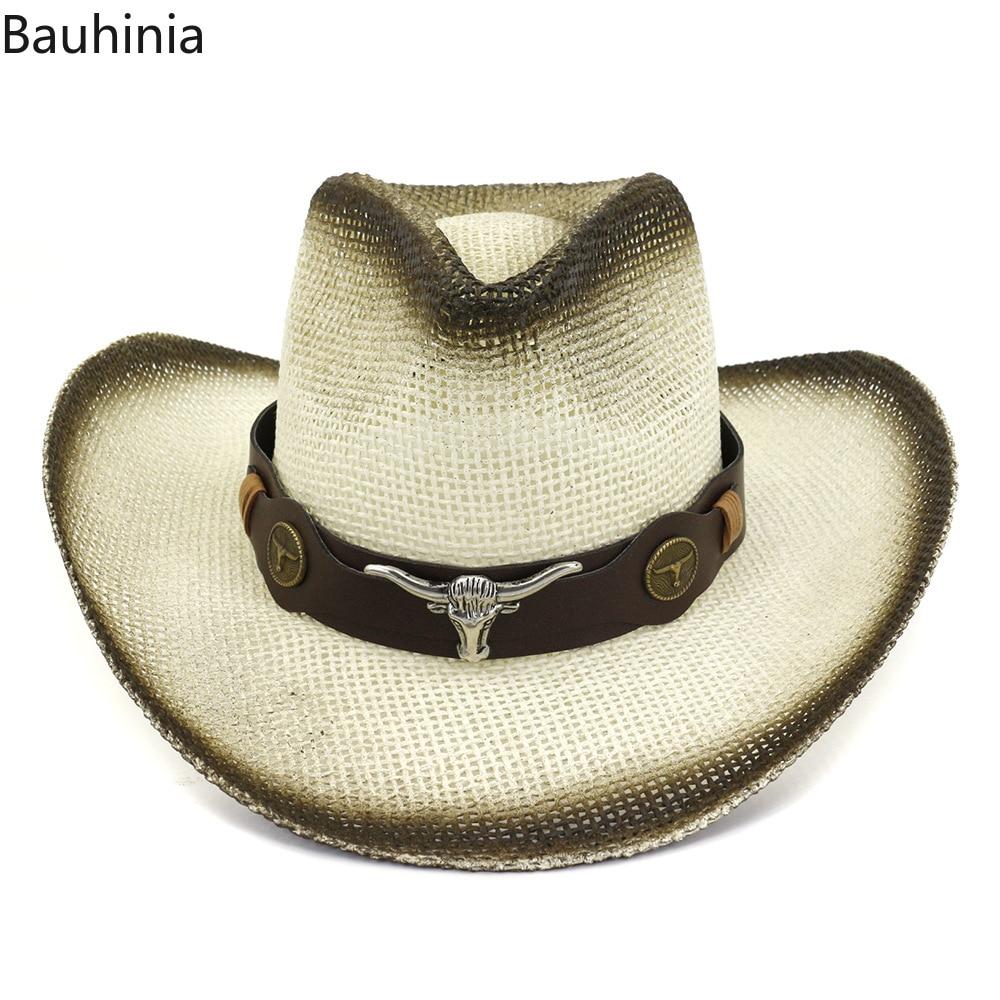 Bauhinia New outdoor vacation beach visor casual summer sun hats beach hat fashion western cowboy straw hat