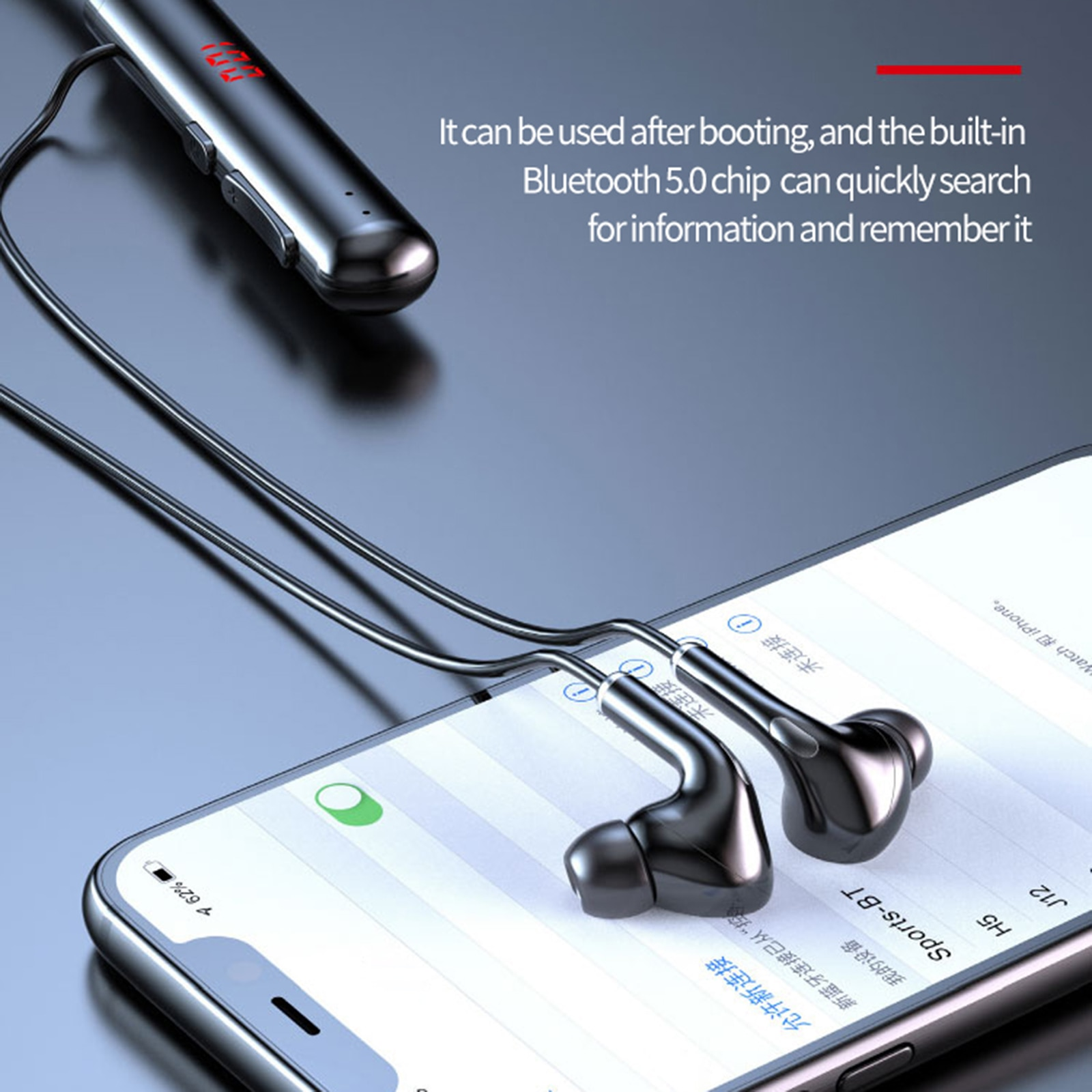Bluetooth Wireless Headphones 60 Hours Waterproof Neckband Earphone Power LED Display Headset TF Card Magnet with Mic for Xiaomi enlarge