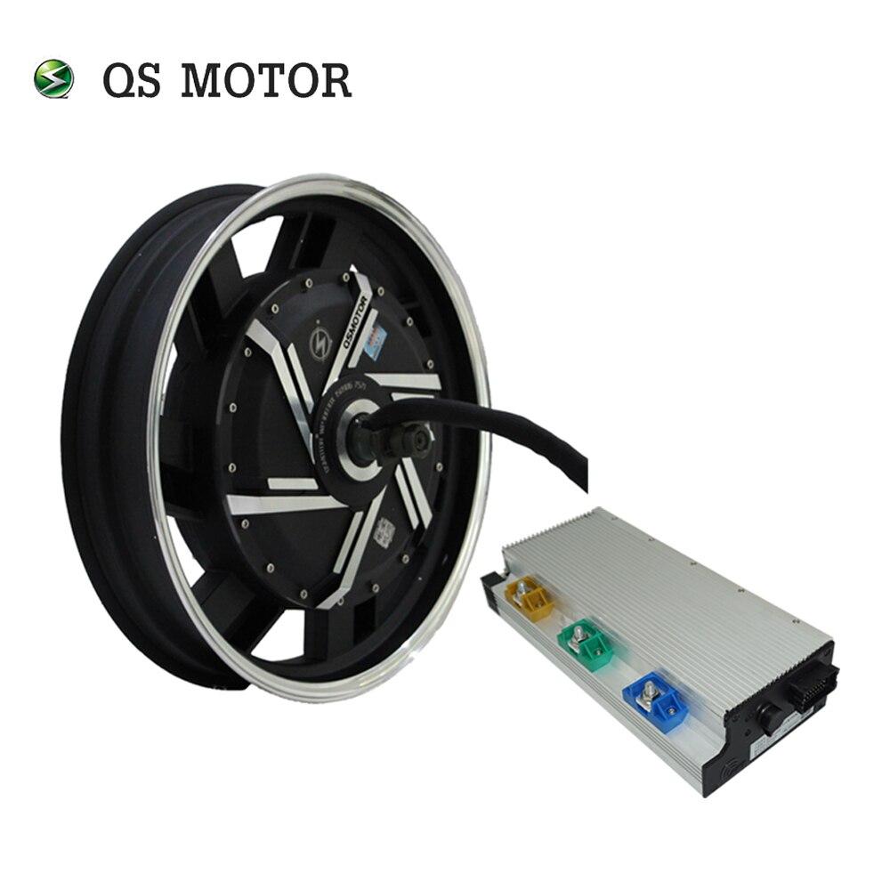 QSMOTOR 17x3.5 pulgadas 8000W V3 72V 120kph Motor del cubo con el regulador de potencia APT72600 kits de tren para la motocicleta eléctrica