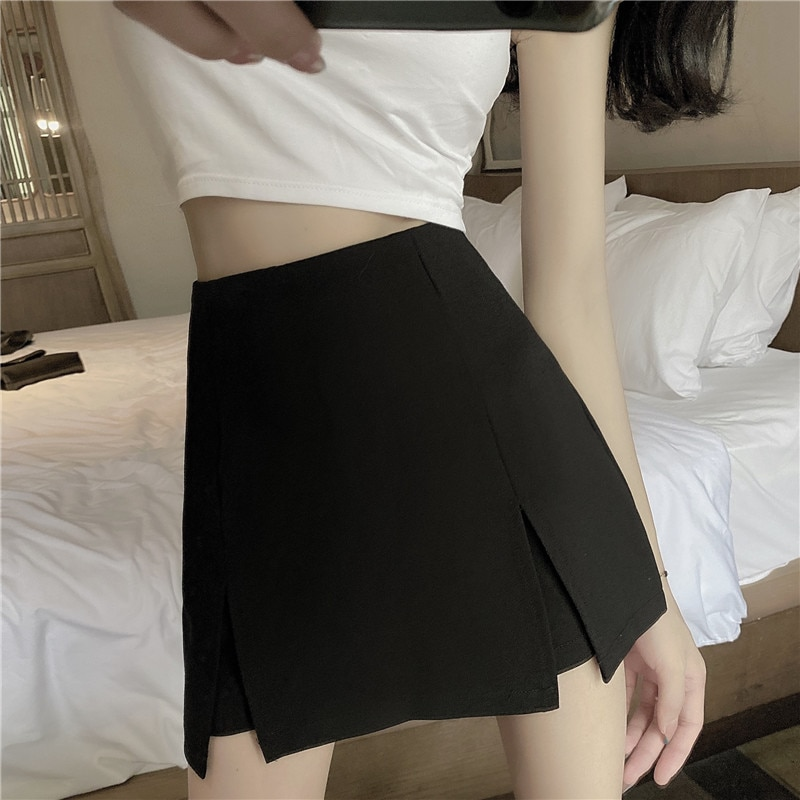 2021 Summer Solid Irregular Slit Skirt Pants Personality Skirts Women Temperament Slim Patchwork A-line Skirt Female OL Style