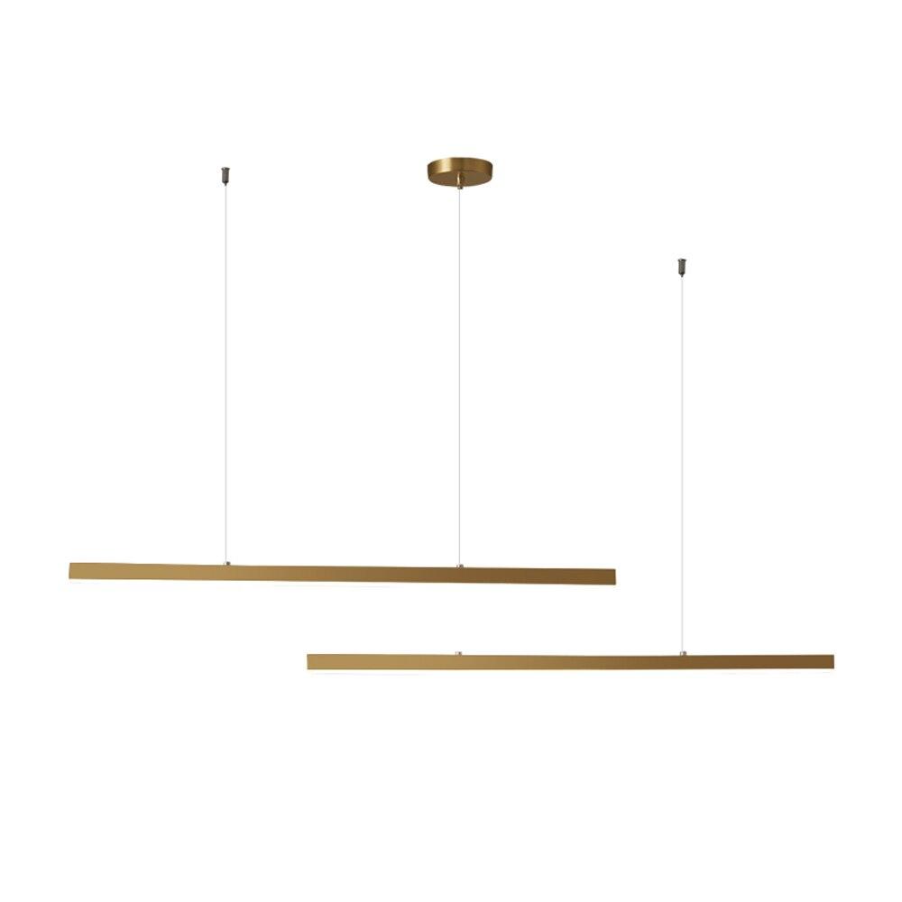 ثريا حديثة طويلة بإضاءة LED من الفولاذ المقاوم للصدأ باللون الذهبي مصباح AC110V 220 فولت تركيبات غرفة الطعام