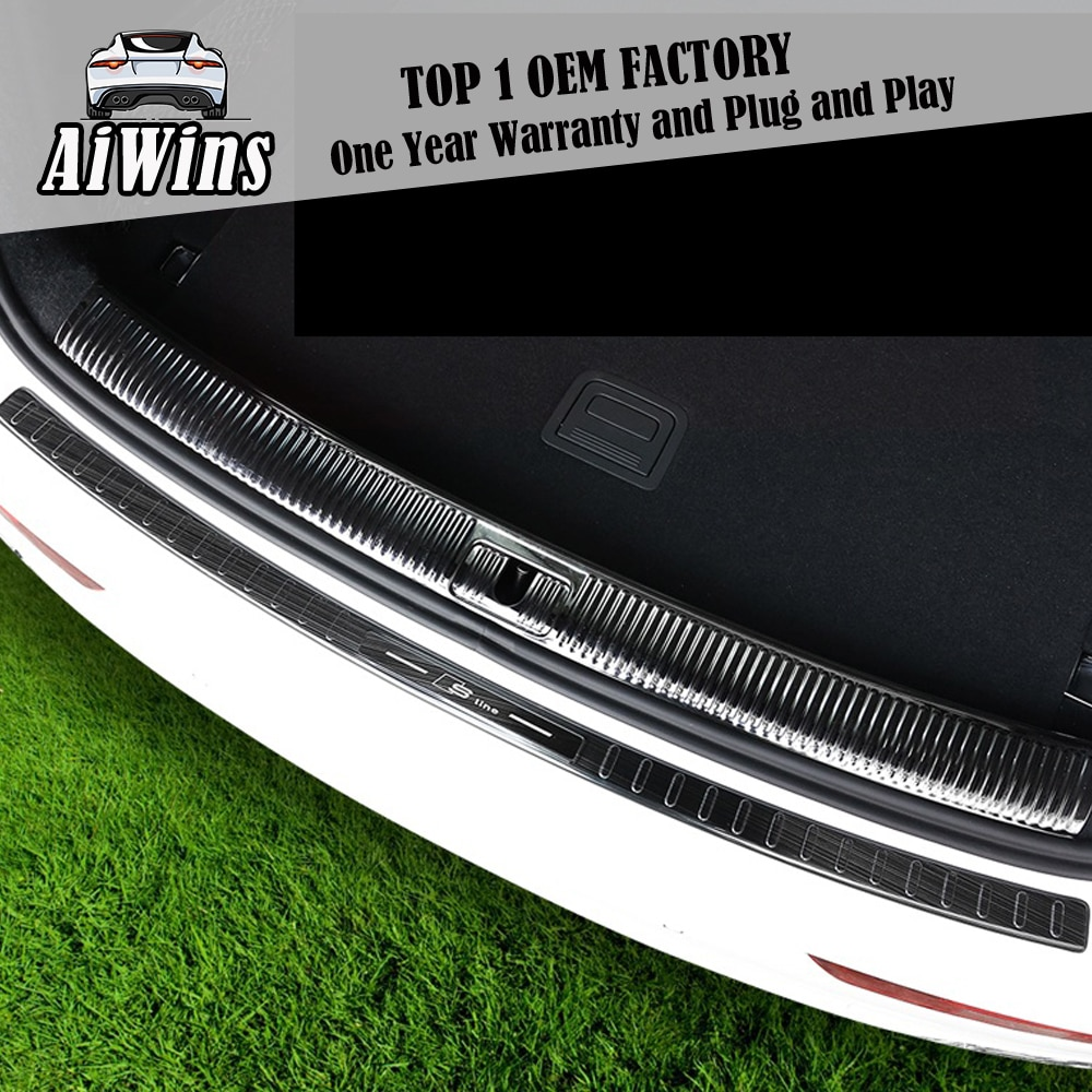 Aiwins, diseño de coche para Audi Q5, Placa de protección trasera de alféizar de puerta trasera, tabla de protección trasera mejorada, gran envolvente, de acero inoxidable, antiarañazos