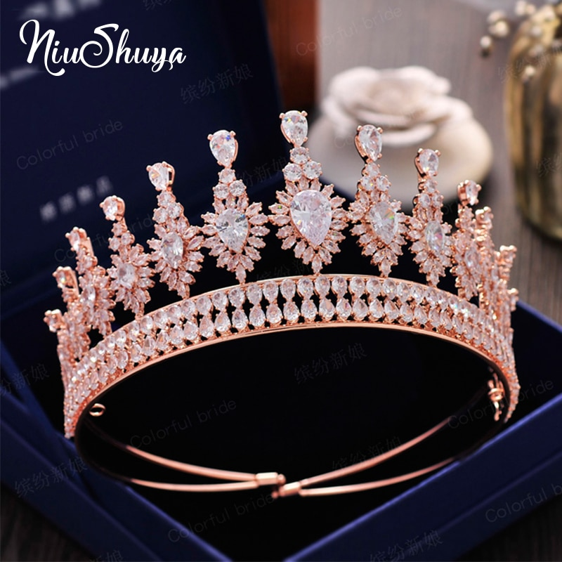 NiuShuya Sparkling Full Cubic Zircon Wedding Tiaras Crowns for Brides Rose Gold Plated Headbands Crowns Wedding Hair Accessories