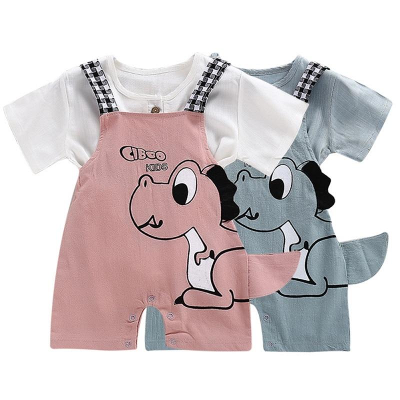 Newborn Infant Baby Boys Overalls Strap shorts Summer Baby Boys Grils Dinosaur Cartoon Printing Suspender Trousers Kids Overalls