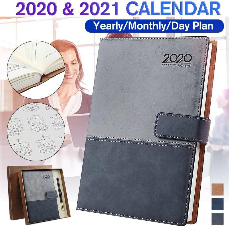 Cuaderno de cuero A5 con calendario de 2020 y 2021 años, Bloc...