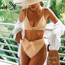 In-X Retro high waist bikini set 2020 Striped swimsuit female Bandage swimwear women Summer bathers Triangle bikini bathing suit