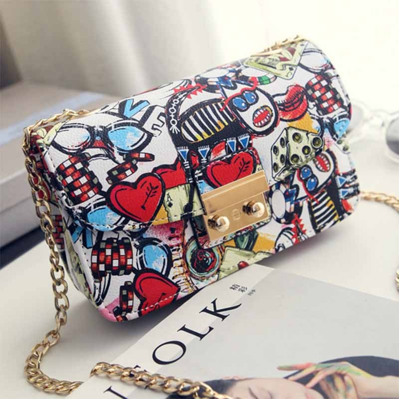 2021 Women Fashion New Trend Shoulder Bags Ladies Korean Style Printing PU Leather Small Square Bag