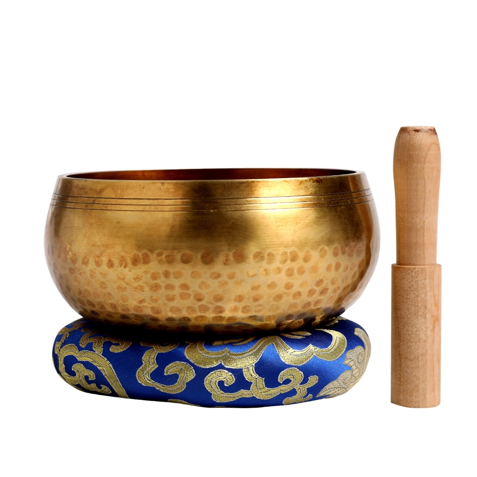 Silent Mind  Tibetan Singing Bowl Set  Antique Design  With Dual Surface Mallet and Yoga physiotherapy uses this pure bowl voice