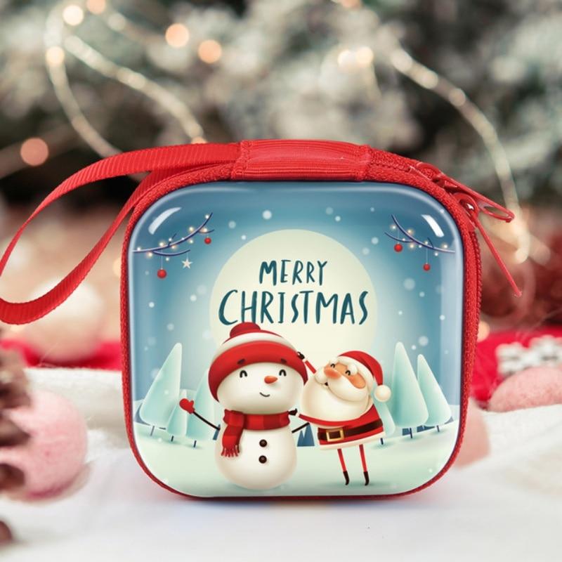 50 pçs/lote novo natal papai noel moeda bolsa bolso zip saco de armazenamento para presente fone de ouvido dinheiro carteira doces crianças meninas quadrado