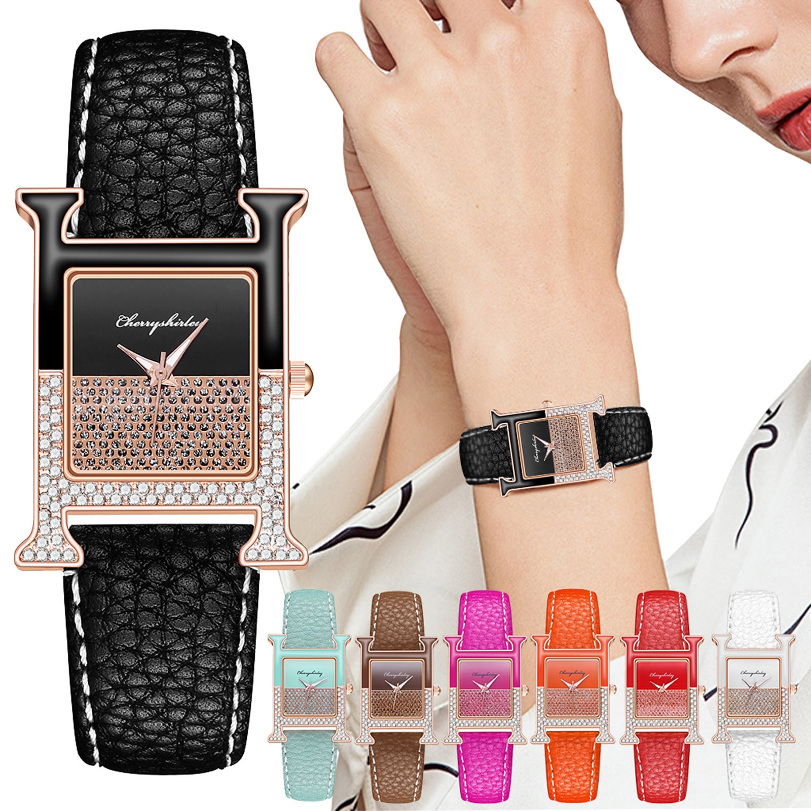 Fashion Square Women Leather Watch Contracted Crystal Bracelet Dress WristWatches Ladies Green Quart