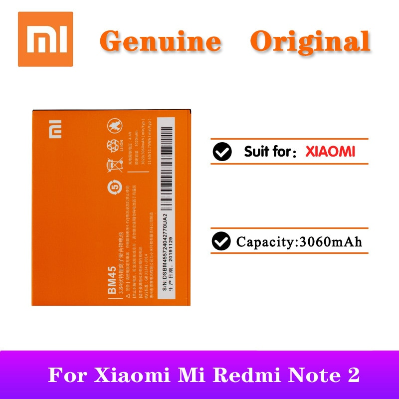 5pcs/lot Xiaomi BM45 3060mAh Phone Battery For Xiaomi Mi Redmi Note 2 Redrice note2 Original Replacement Batteria недорого