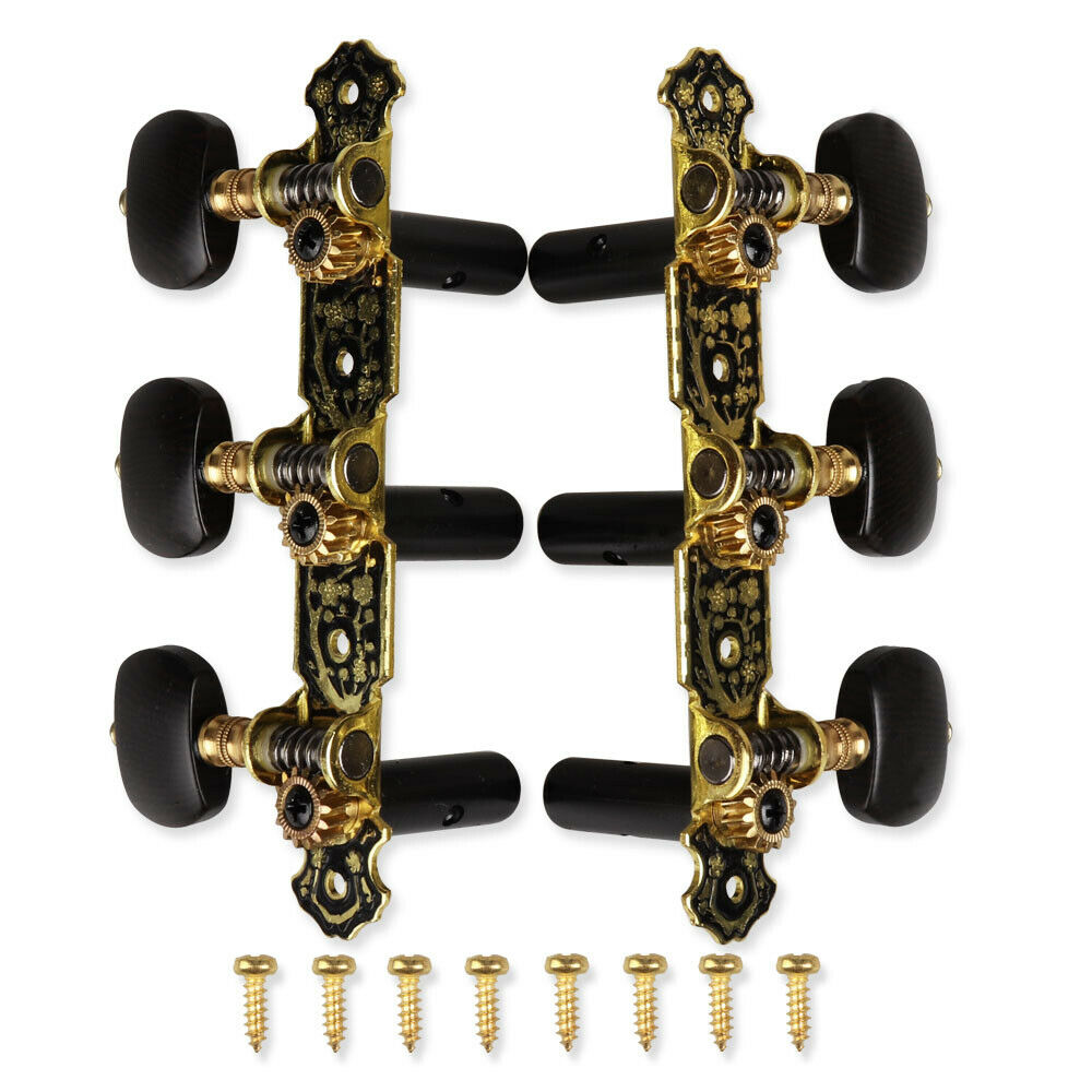 Acoustic Classical Guitar Gold / Black 3R3L Alice Classical Guitar String Tuning Pegs Key Machine Heads enlarge