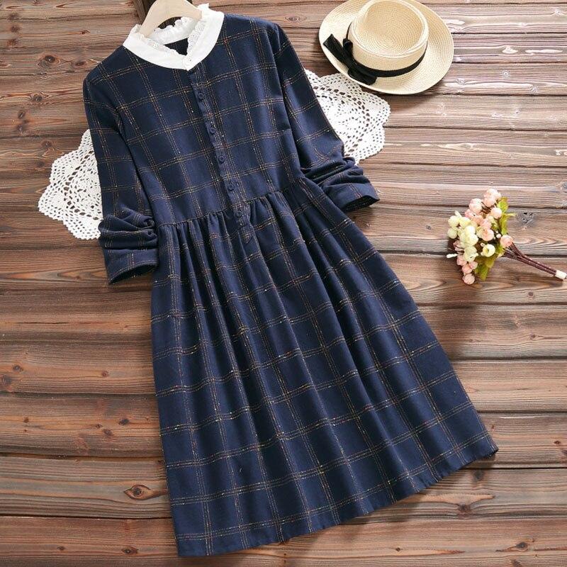 Primavera otoño Casual dulce encaje cuello Plaid Vestido Mujer de manga larga de algodón de lino elegante Vestido femenino Vestido Mori chica K151