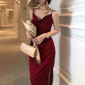 Французское винтажное атласное красное платье с поясом на завязках, тонкое темпераментное весенне-летнее платье