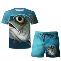 2021 summer new 3d printing mens short sleeve shorts personalized sports suit fishing o neck mens t shirt large sports suit