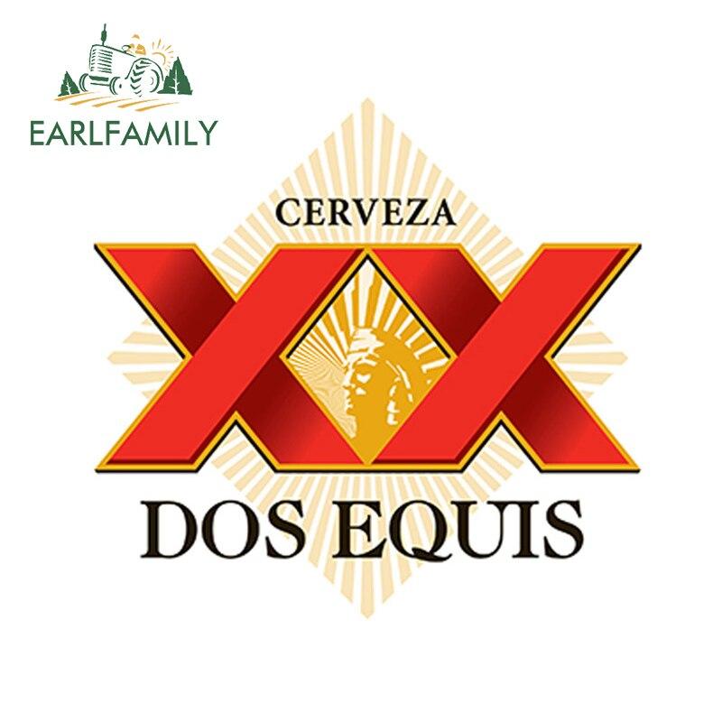 EARLFAMILY, 13cm x 12,3 cm, pegatina de DOS EQUIS, pegatina de Cerveza mexicana, pegatina de parachoques, barra de pared para coche, accesorios de estilo de coche