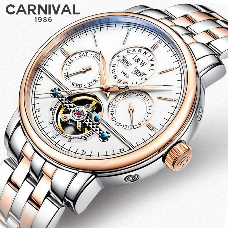 CARNIVAL New Fashion Automatic Men's Multifunctional Mechanical Watch Year Month And Week Display Waterproof Tourbillon Watches